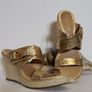 Sperry Topsider Gold Metallic Wedge Sandal Size 8